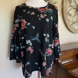 FALLS CREEK Size Large Bell Sleeve Blouse Top